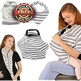 Pupiki Nursing Breastfeeding Cover: Soft, Cute, Stretchy Baby Breastfeeding Scarf w/ Carry Bag + Bandana Drool Bib| Top Multipurpose Infant Canopy/ Baby Car Seat Cover/ Stroller