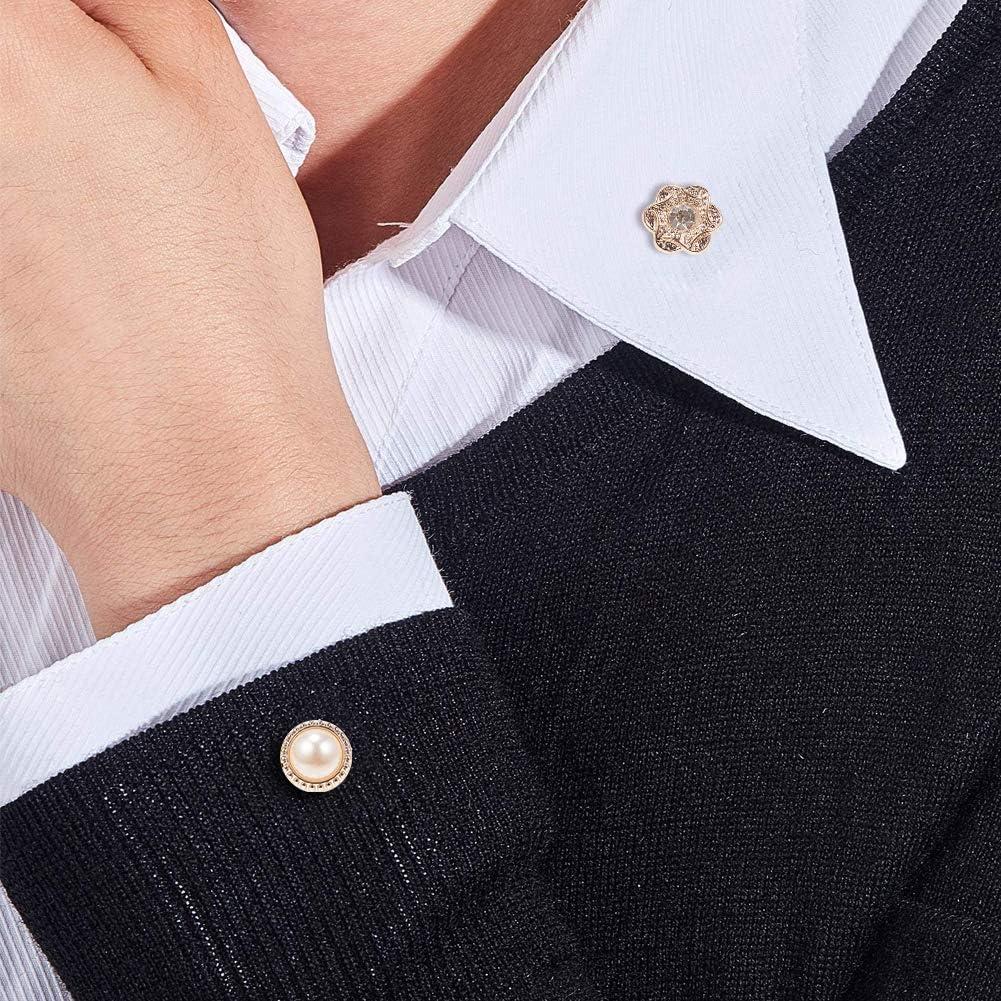 PandaHall 80pcs 20 Stili Camicia Spilla Bottone Spille con Smalto di Sicurezza con Spille di Ferro per Donna Forniture per Abbigliamento Bianco