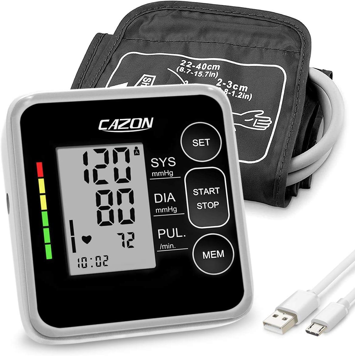 CAZON Tensiómetro automático de brazo, medidor de pulso cardíaco con manguito de 22-40cm, uso doméstico, 2×120 conjuntos de memoria