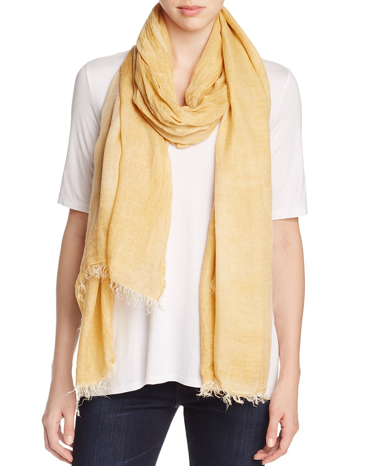 Eileen Fisher Women's Frayed Edge Scarf (One Size, Arnica) by Eileen Fisher