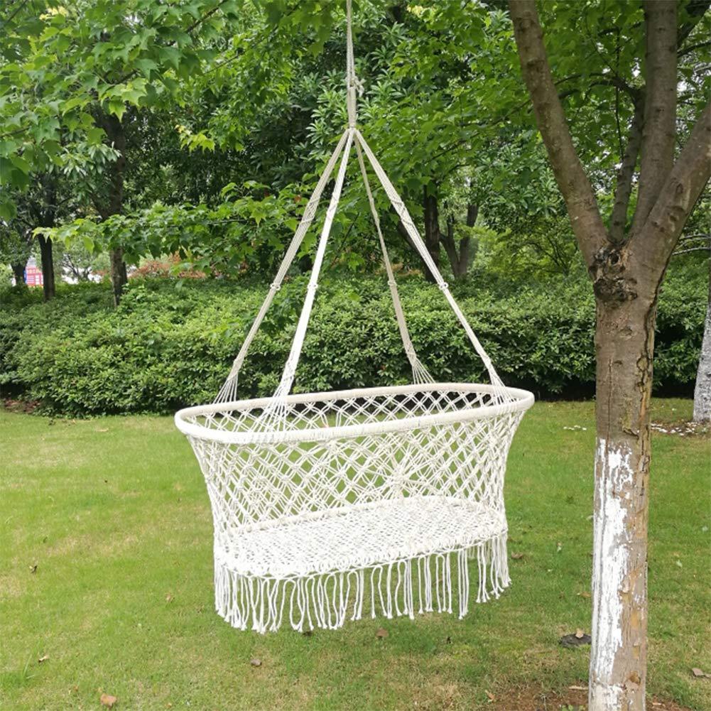 Macrame Hanging Bassinet Portable Baby Cradle Handmade Natural Cotton Swing Hammock Large Weight Capacity Hanging Crib Indoor Outdoor