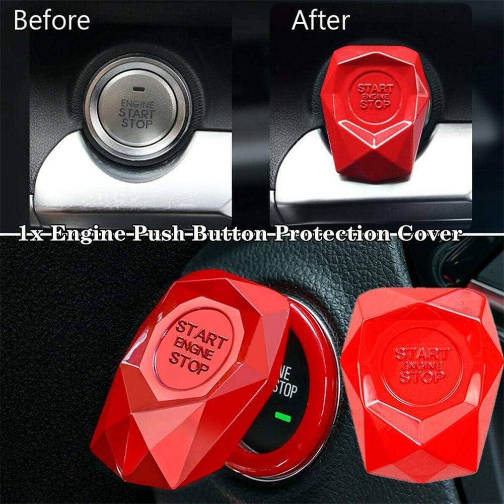 Car Engine Start Stop Push Button Cover Trim Universal Car Engine Start Button Switch Protection Cover Trim Sticker Car Interior,Blue