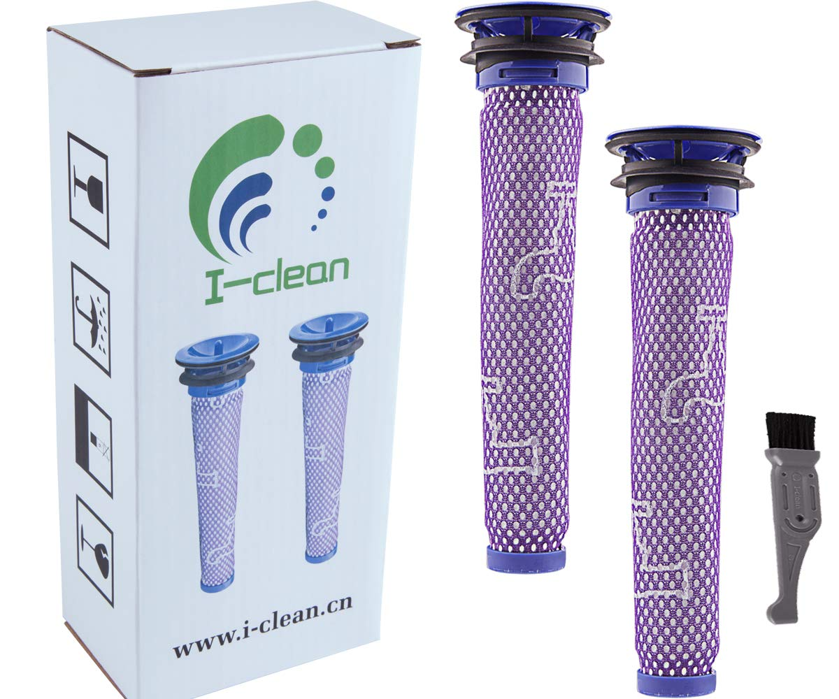 I clean Filter for Dyson V8 Animal Cord-Free Vacuum Cleaner, 2pcs Washable Pre Filters for Dyson DC58 DC59 V6 V7 Vacuums