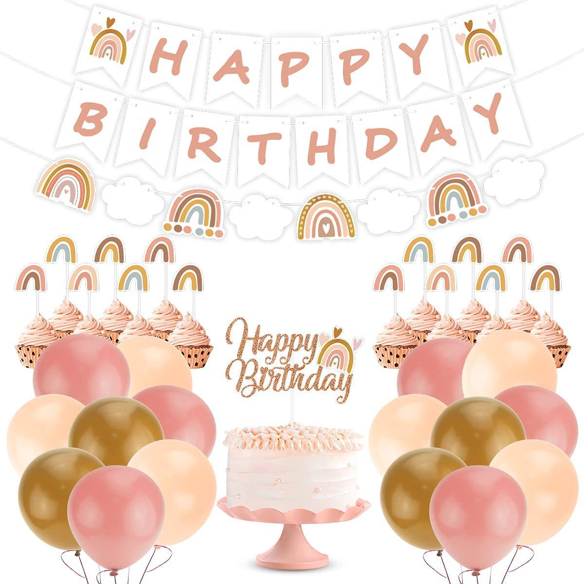 Boho Rainbow Birthday Party Decorations, Bohemian Rainbow Theme Happy Birthday Banner, Cake Toppers, Boho Rainbow Balloon Garland for Boho Rainbow Neutral Baby Shower Birthday Party Supplies
