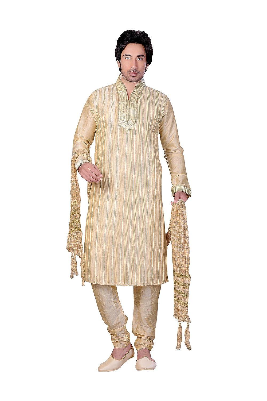 b448e20c7d2 Amazon.com  Indian Fashion Eye-catching Art ART DUPIN SILK Fabric GOLD  Color Readymade Kurta Pay  Clothing