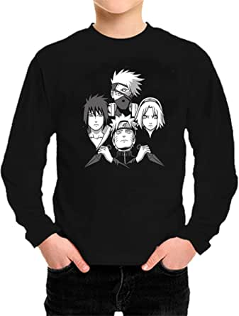 Camiseta Manga Larga de NIÑOS Naruto Manga Anime Shuriken Sasuke Kakashi 027