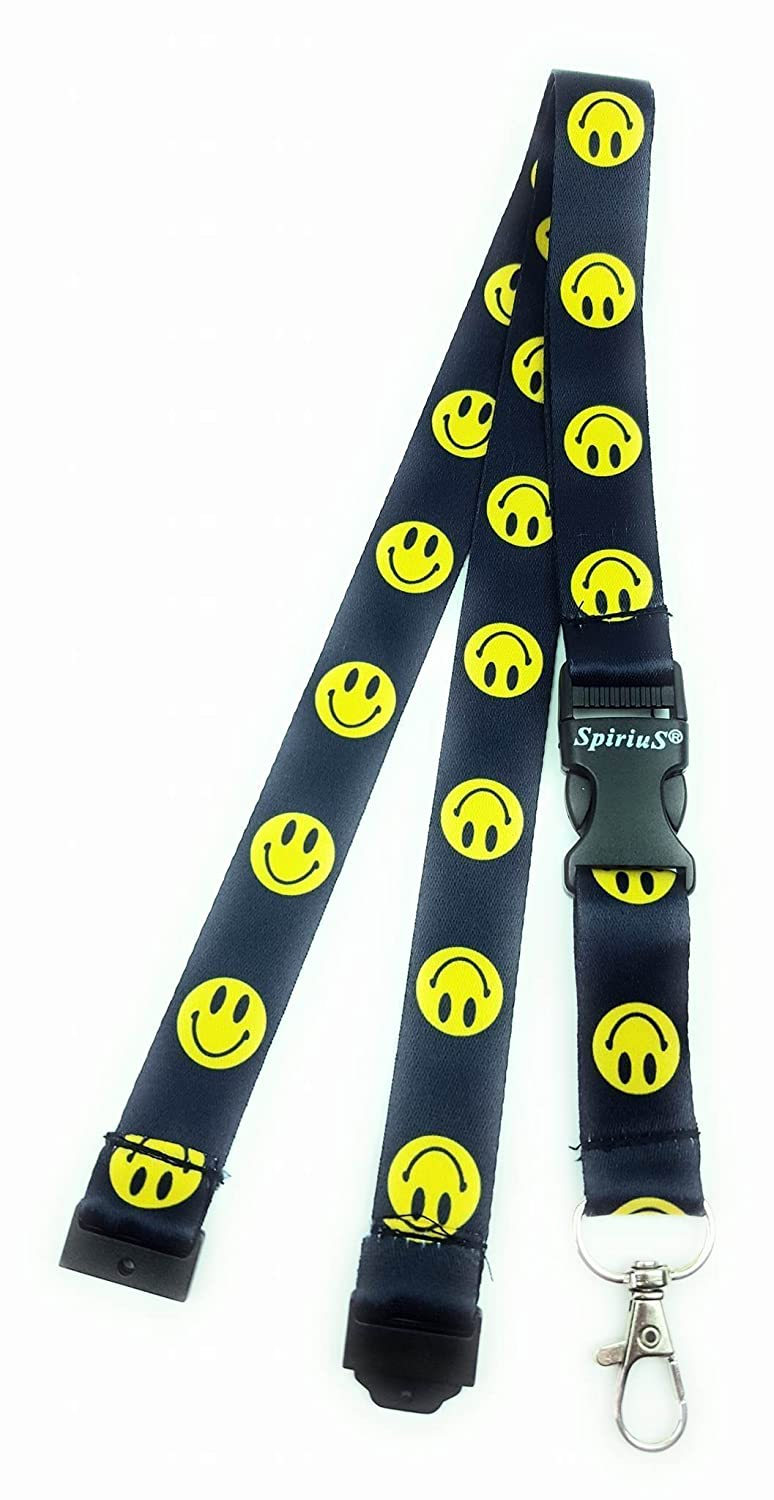 Smiley Key Holder Spirius Coloured Neck Strap Lanyard with Strong Metal Clip for ID Badge Holder