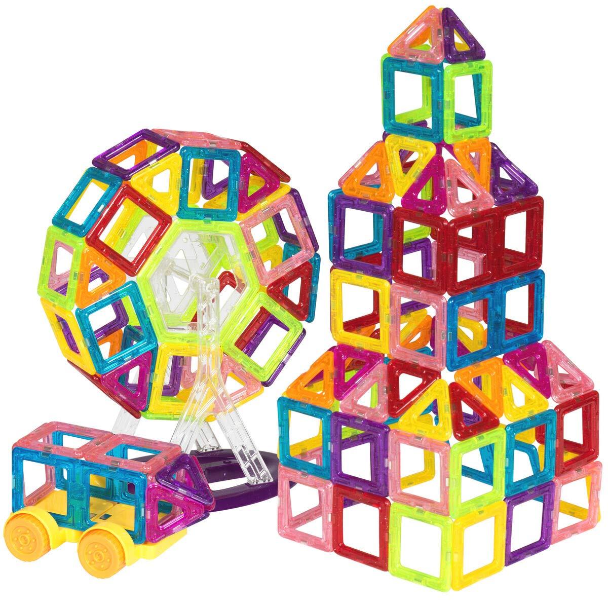 158-Piece Kids Clear Magnetic Building Block Tiles Toy Set - Multicolor, Best Children's Toys 2019