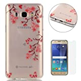 Samsung Galaxy J5 2016/J510FN Silicone Gel Case [with Free Screen Protector],CaseHome Crystal Clear Shock Proof Soft Durable Scratch Resistant Jelly Rubber TPU Protective Case Cover Skin Shell for Samsung Galaxy J5 2016/J510FN with Beautiful Colourful Pattern Design-Pink Flowers Butterfly
