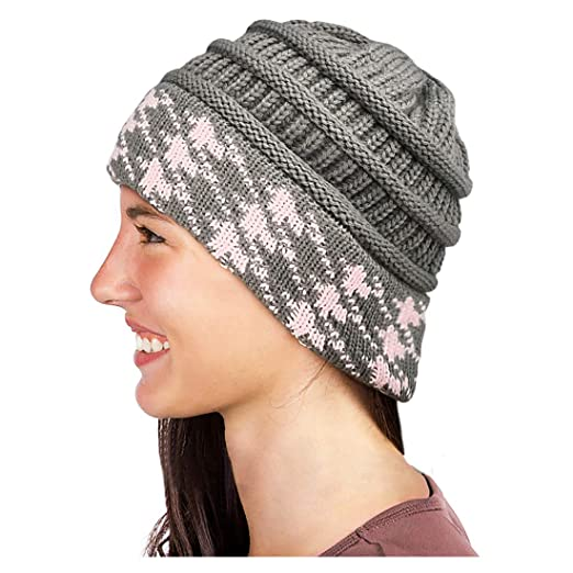 4933b9dc4e3c Glamorstar Winter Houndstooth Knit Hat Cable Soft Stretch Knit ...