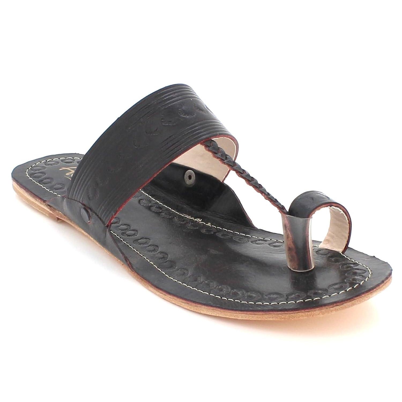 AARZ LONDON Frau Damen Authentisch Kolhapuri Chappal Offener Zeh Beiläufig Komfort Schlüpfen Flache Sandalen Schuhe Größe Schwarz