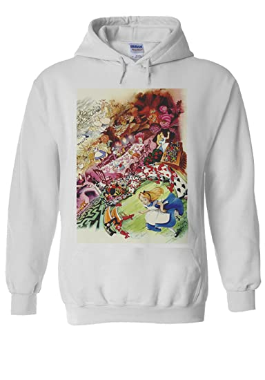 Alice In Wonderland Cartoon Anime White Men Women Unisex Hooded