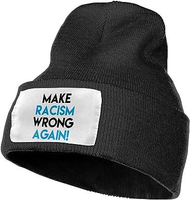 Men Women Make Racism Wrong Again Skull Hat Beanie Cap Winter Knit Hat Cap