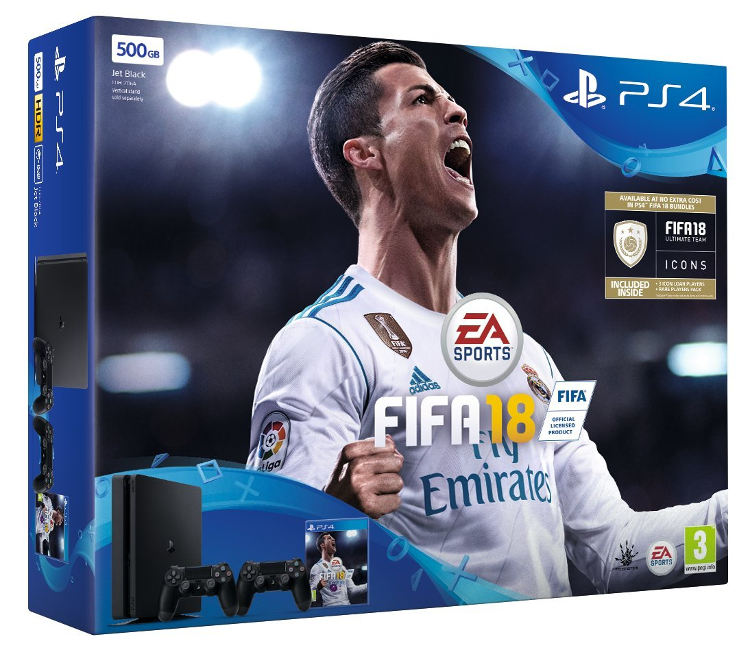 Sony PlayStation 4 500 GB with FIFA 18 Ultimate Team Icons and Rare