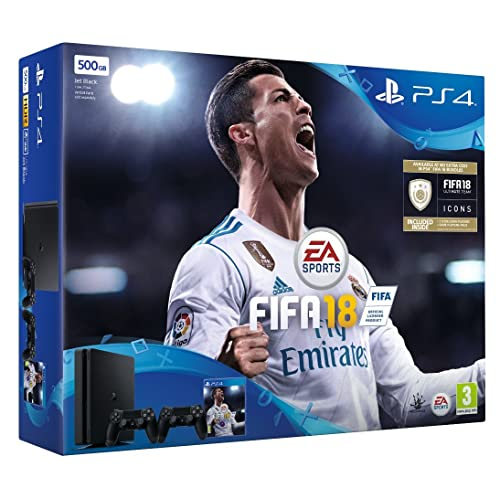 Sony PlayStation 4 500 GB with FIFA 18 Ultimate Team Icons and Rare Player Pack and Second Dualshock 4