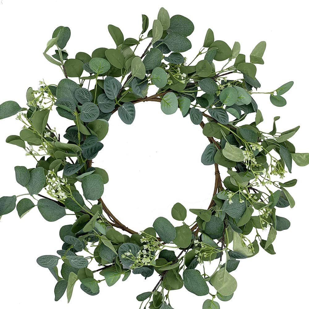 HOONAO Artificial Eucalyptus Wreath Green Leaves Wreath for Front Door Wall Hanging Window Wedding Farmhouse Home Decoration