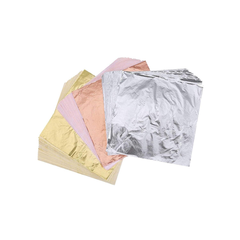 Gilding Crafting 400 Sheets Imitation Gold Leaf Silver Leaf Rose Gold Leaf Foil Paper for Arts Furniture 5.5 by 5.5 Inches Decoration