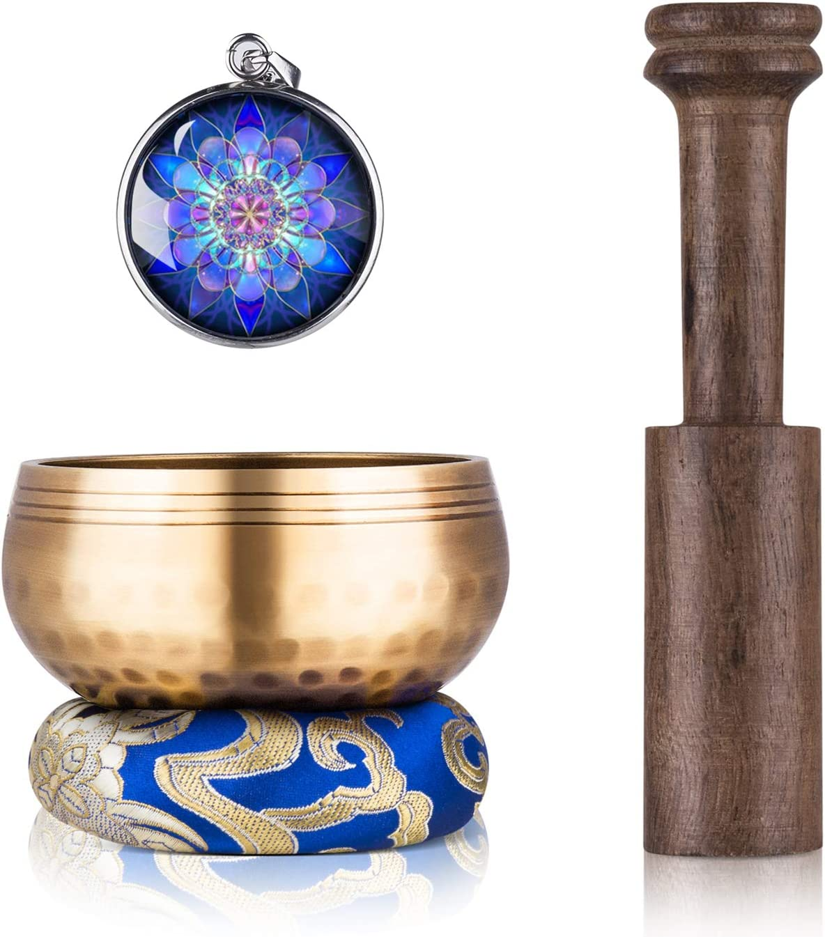 Tibetan Singing Bowl Set - Sing Bowl Unique Gift Helpful for Meditation, Yoga, Relaxation, Chakra Healing, Prayer and Mindfulness (Golden)