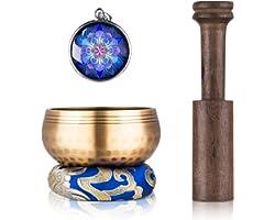 Tibetan Singing Bowl Set - Sing Bowl Unique Gift Helpful for Meditation, Yoga, Relaxation, Chakra Healing, Prayer and Mindful