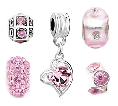 Set Of 5 Pink Charms Fits UK Leading Brand Charm Bracelets IZGporX