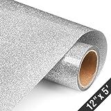 Glitter Silver Heat Transfer Vinyl Rolls 12in.x5ft, Heat Press Iron on Vinyl for T Shirts by TransWonder (Silver)