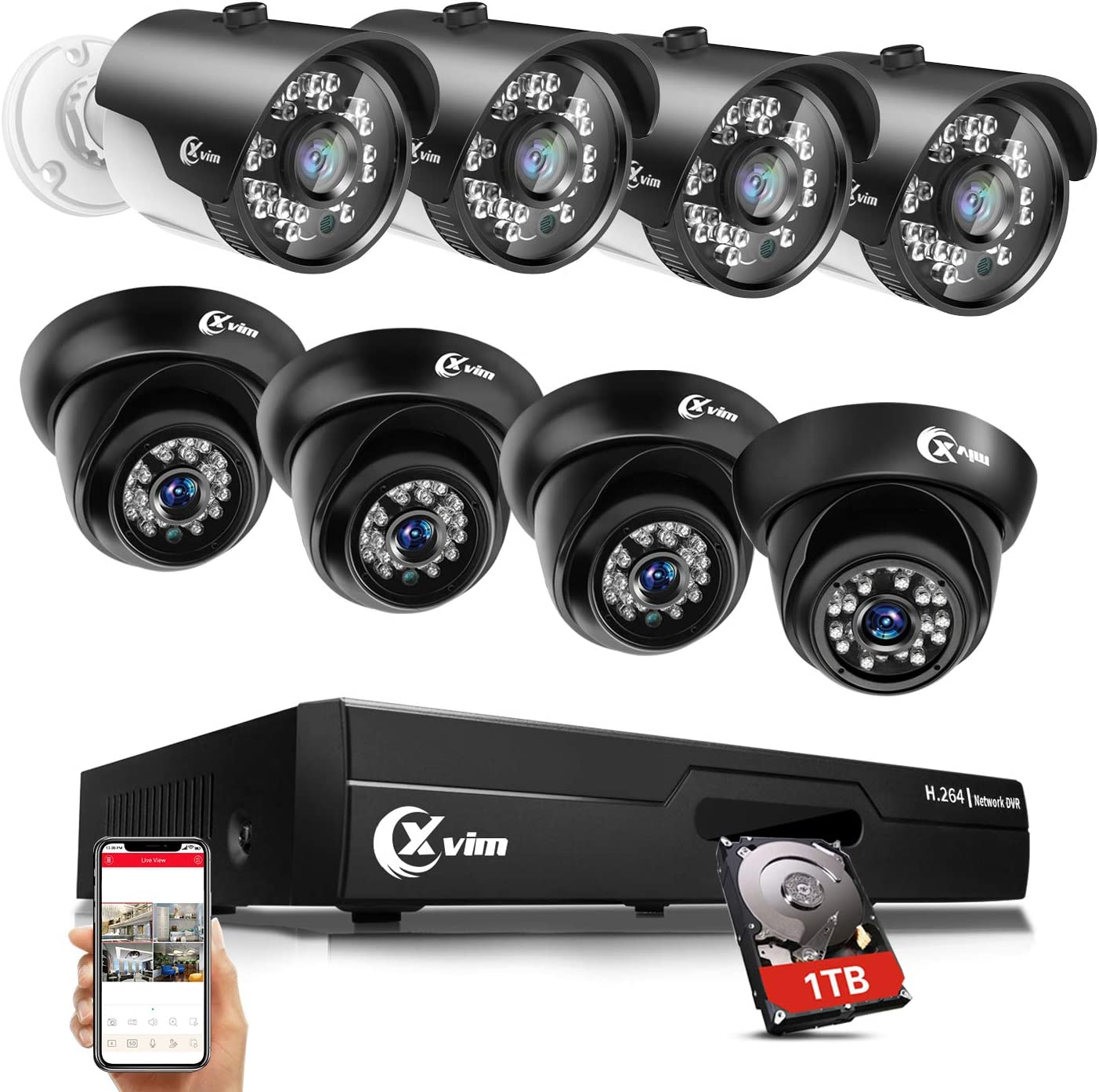 SMONET 5MP Security Camera System,8CH Wired Surveillance DVR with 8pcs Home Indoor Outdoor IP66 Weatherproof CCTV Cameras,Night Vision Remote Access,Motion Detection,NO HDD