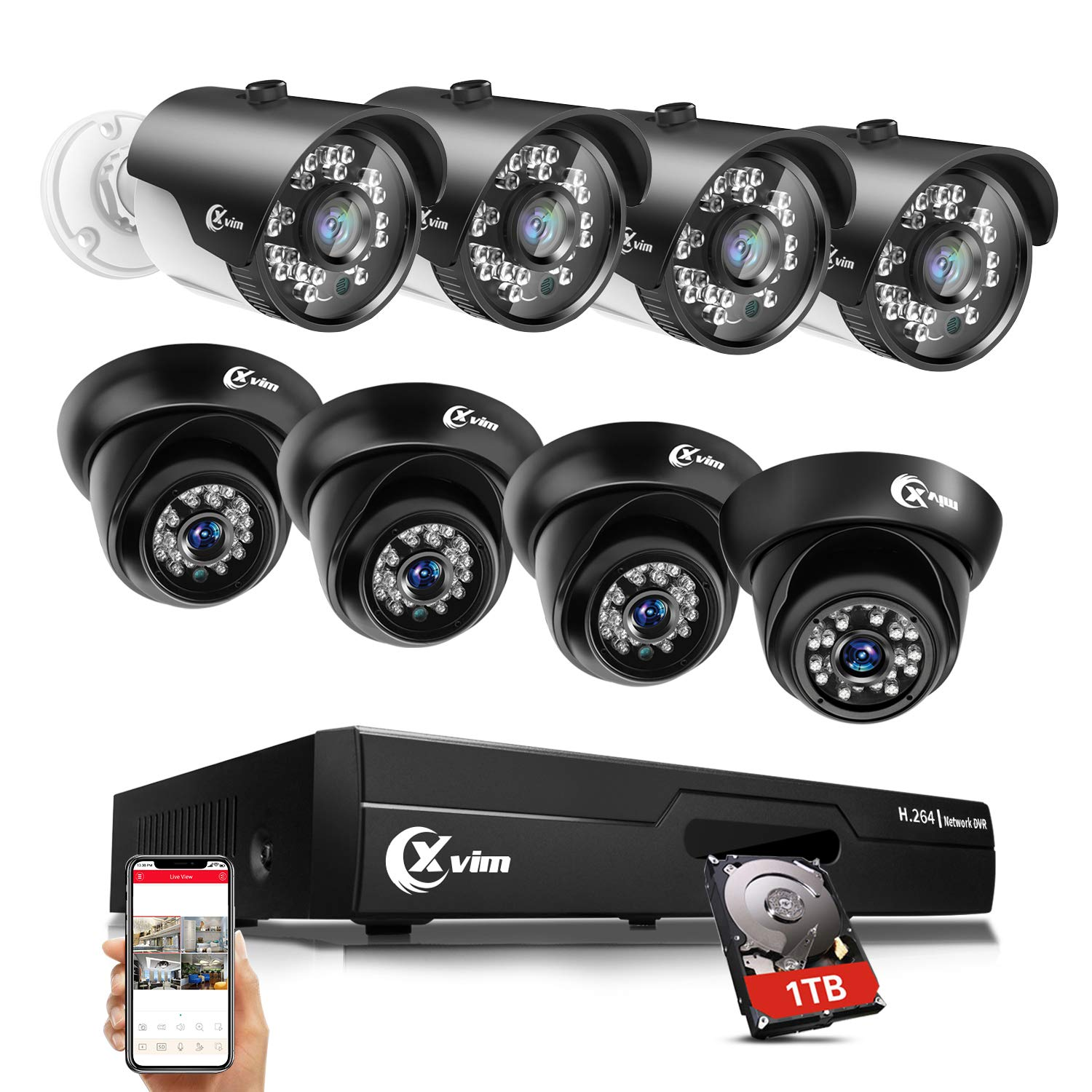 XVIM Home Security Camera System with 1TB Hard Drive, 8 Channel 1080N DVR Video Recorder 8PCS 720P HD Waterproof CCTV Camera, Outdoor Surveillance Cameras, 85FT Night Vision, Easy Remote Access by X-VIM