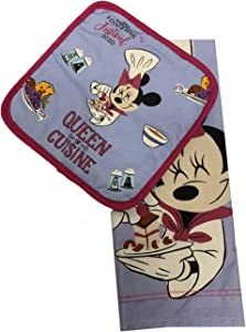 Disney Parks Epcot Food and Wine Festival 2020 Chef Minnie Queen of Cuisine Pot Holder and Dish Towel Set