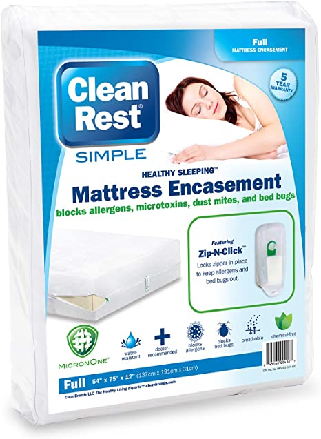 Queen CleanRest Simple Water-Resistant Allergy /& Bed Bug Blocking Mattress Encasement White