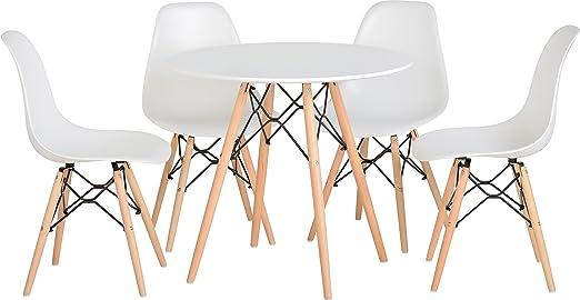 AHOC Tegan Juego de Comedor con Madera Natural – Mesa y 4 sillas ...