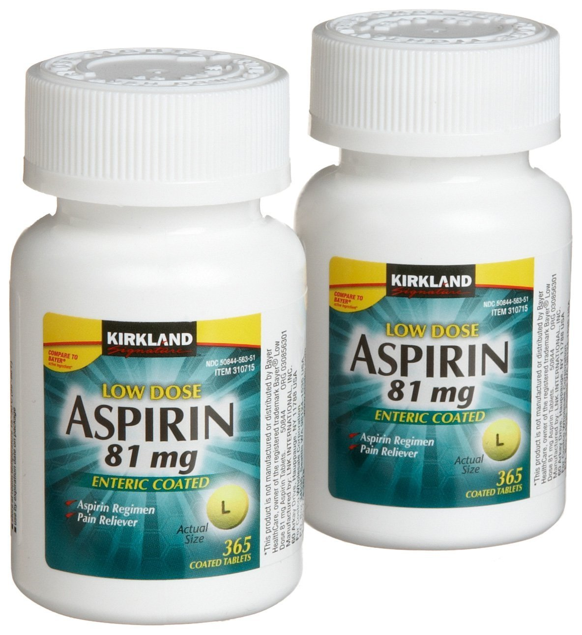Kirkland Signature Low Dose Aspirin, 4 bottles - 365-Count Enteric Coated Tablets 81 mg each (1460 Tablets Total)