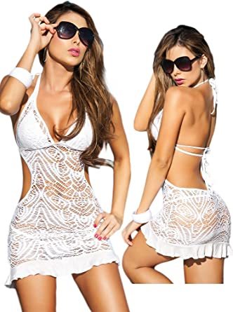 0179846ea916e Amazon.com: Sexy White Beach Swimwear Sheer Crochet Cover Up Dress ...