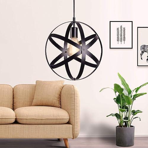 SUNLI HOUSE Vintage Industrial Metal Spherical Pendant Light Displays Changeable Hanging Light Fixture,Black Hanging Cage Globe Ceiling Chandelier Fixture
