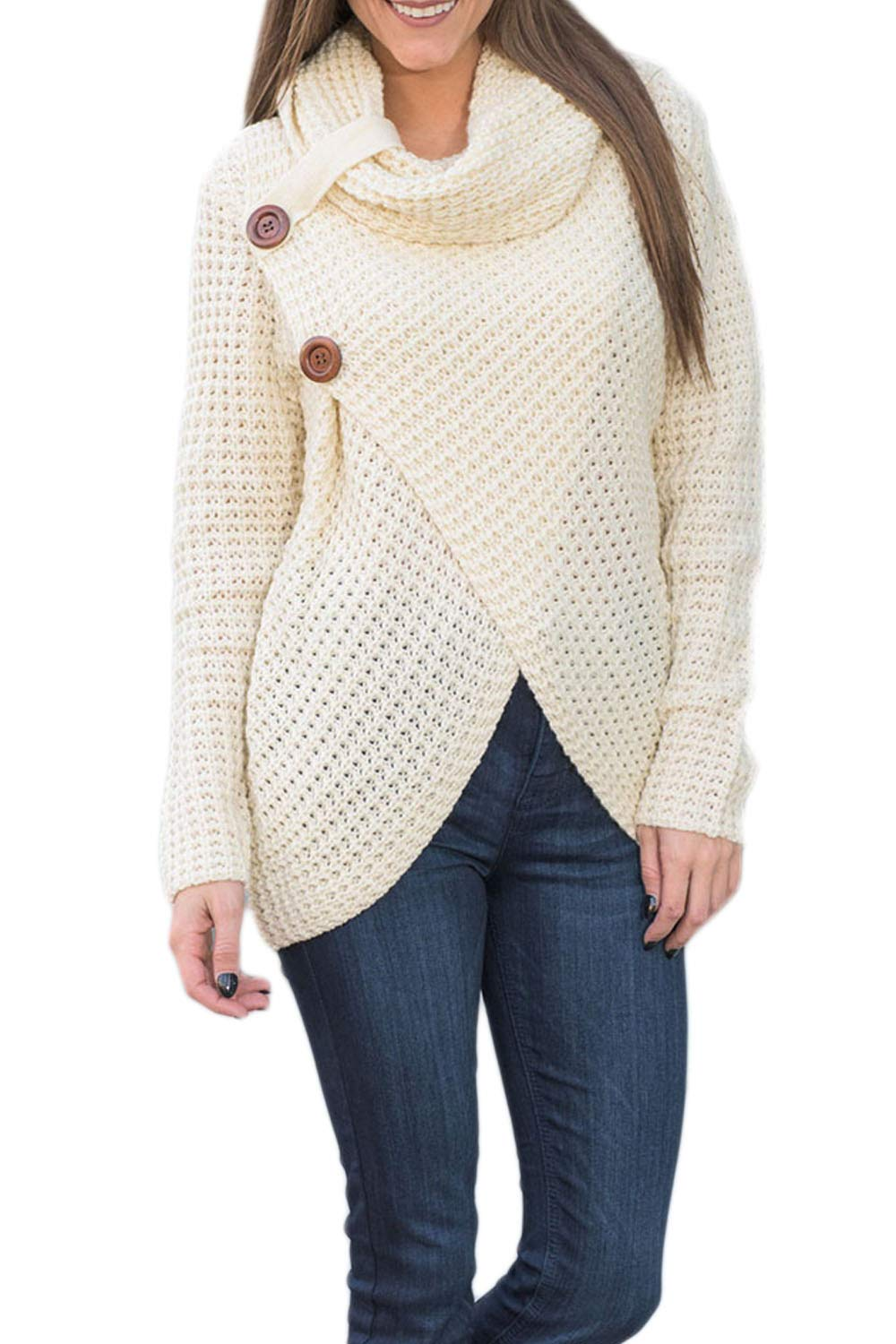 Womens Pullover Sweater Turtleneck Long Sleeve Poncho Sweater