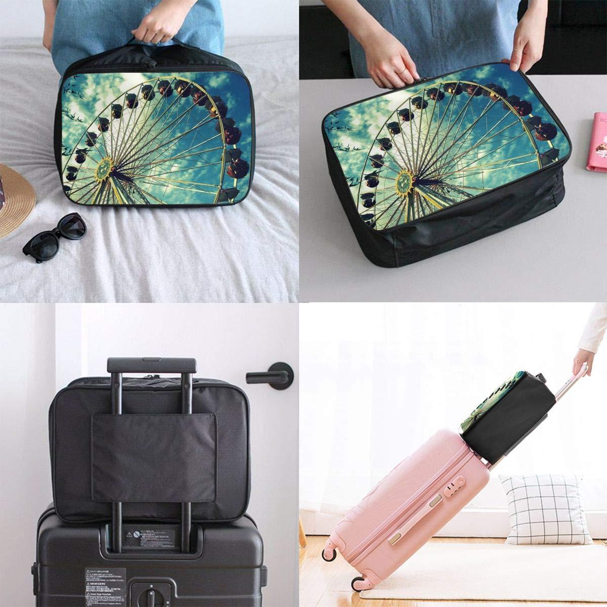 Travel Luggage Duffle Bag Lightweight Portable Handbag Ferris Wheel Pattern Large Capacity Waterproof Foldable Storage Tote
