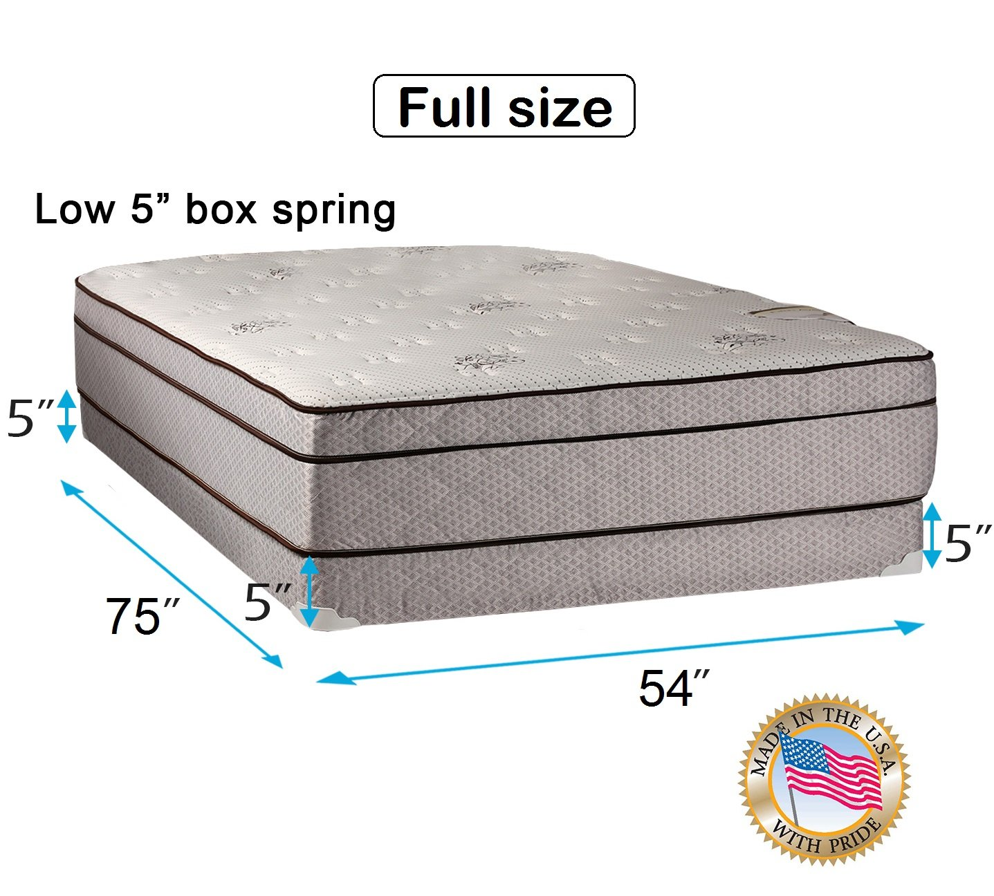 Dream Solutions Fifth Ave Extra Soft Foam Eurotop (PillowTop) Full Mattress & Low 5'' Height Box Spring Set with Mattress Cover Protector Included - Fully Assembled, Orthopedic, Quality Sleep System by Dream Solutions USA