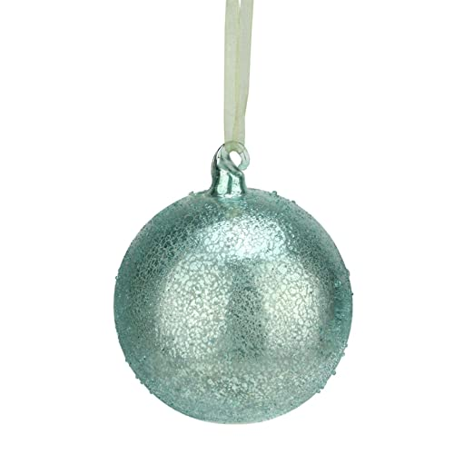 Christmas Tablescape Decor - Silent Luxury Turquoise Blue Iced Beaded Mercury Glass Ball Christmas Ornament