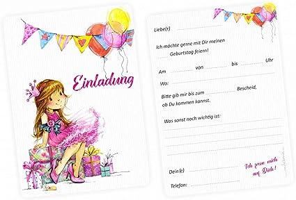 5 Einladungskarten Mädchen Geschenk Luftballons Pink Inkl 5