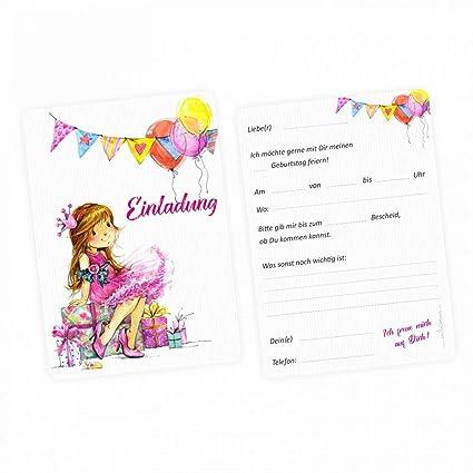 5 tarjetas de invitación para niña, globos, rosa, incluye 5 ...