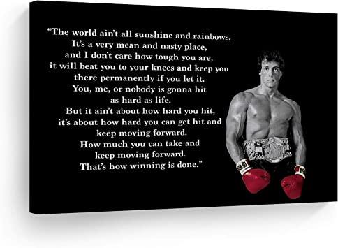 Smile Art Design Rocky Balboa Wall Art Canvas Print Motivational Quote Hope Artwork Boxing Sylvester Stallone Living Room Home Decoration Ready To