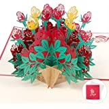 Flower Pop Up Cards | Mom Birthday Gifts | 3D Greeting Cards for All Occasions | Elegant Rose Cards | 6.8x7.2 inches, Envelope Included | Anniversary Bouquets Greeting Cards | Thank You Teacher Cards