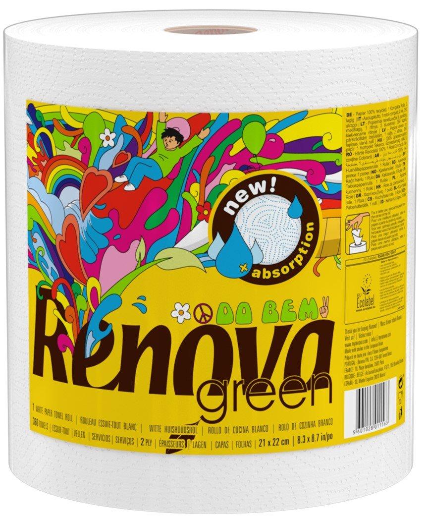 Renova Kitchen Roll and Kitchen Roll White Renova Green Bio 1 = 10 –  1 Roll –  Kitchen –  [Pack of 2] Renova ES 200076807