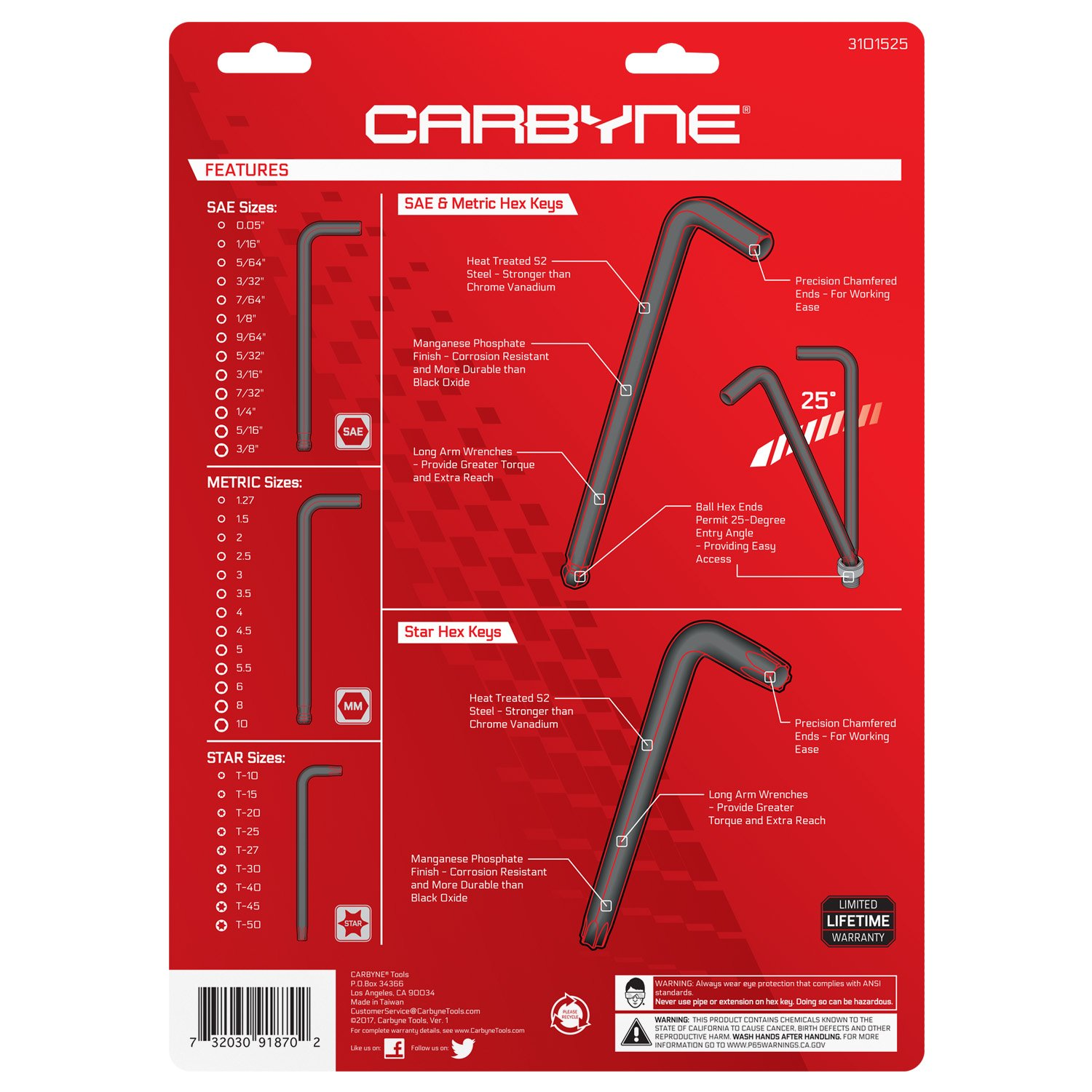 CARBYNE 35 Piece Long Arm Ball End Hex Key Wrench Set, Inch/Metric/Star, S2 Steel by Carbyne (Image #2)