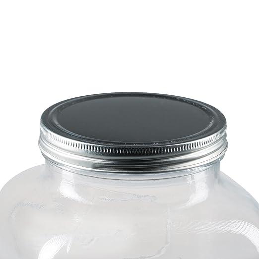 Levivo Dispensador de bebidas de 4 litros, de vidrio, con grifo integrado, moderno sistema de surtidor para la fiesta en el jardín o el minibar de casa, ...