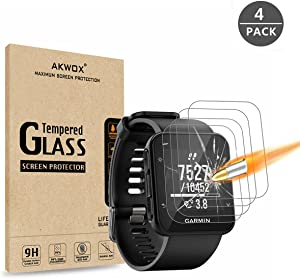 AKWOX (Pack of 4) Garmin Forerunner 35 Screen Protector, [0.3mm 2.5D High Definition 9H] [Anti-Bubble] Tempered Glass Screen Protector for Garmin Forerunner 35