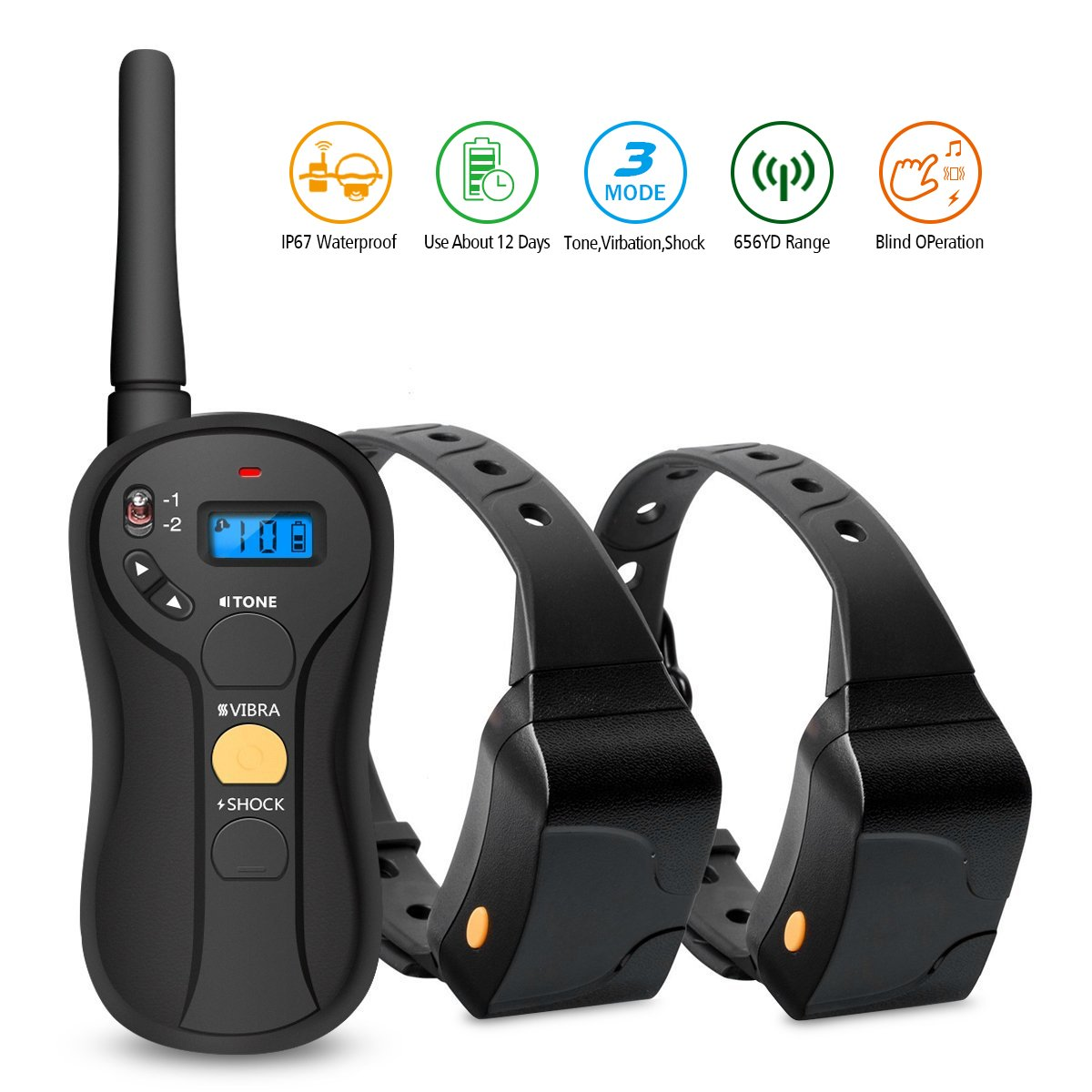 Dog Training Shock Collar, Focuspet Dog Training Collar with Remote Vibration, Beep,Electric Shock Rechargeable and Waterproof Remote Trainer E-Collar for All Size Dogs