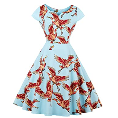 KeKeD23921 2017 New Flamingo Print Dress For Women Vintage Dress Retro Elegant Pattern Feminino Vestidos Swing