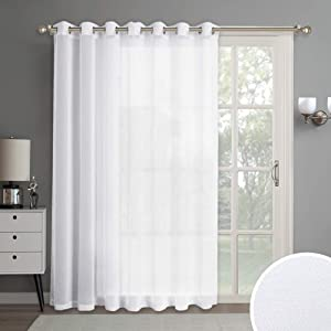 RYB HOME Linen Like Sheer Curtain for Sliding Glass Door, Fade Directly Sunlight Half Privacy Sheer for Living Room Patio Door Kids Nursery Entryway Garden Sun Room, 100 x 84 inches