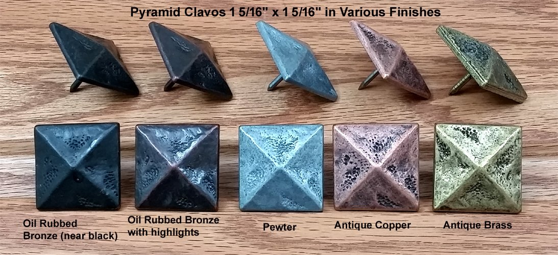 10 Pack of Clavos, Pyramid, Square Shape, 1 5/16'' x 1 5/16'' (Oil Rubbed Bronze)