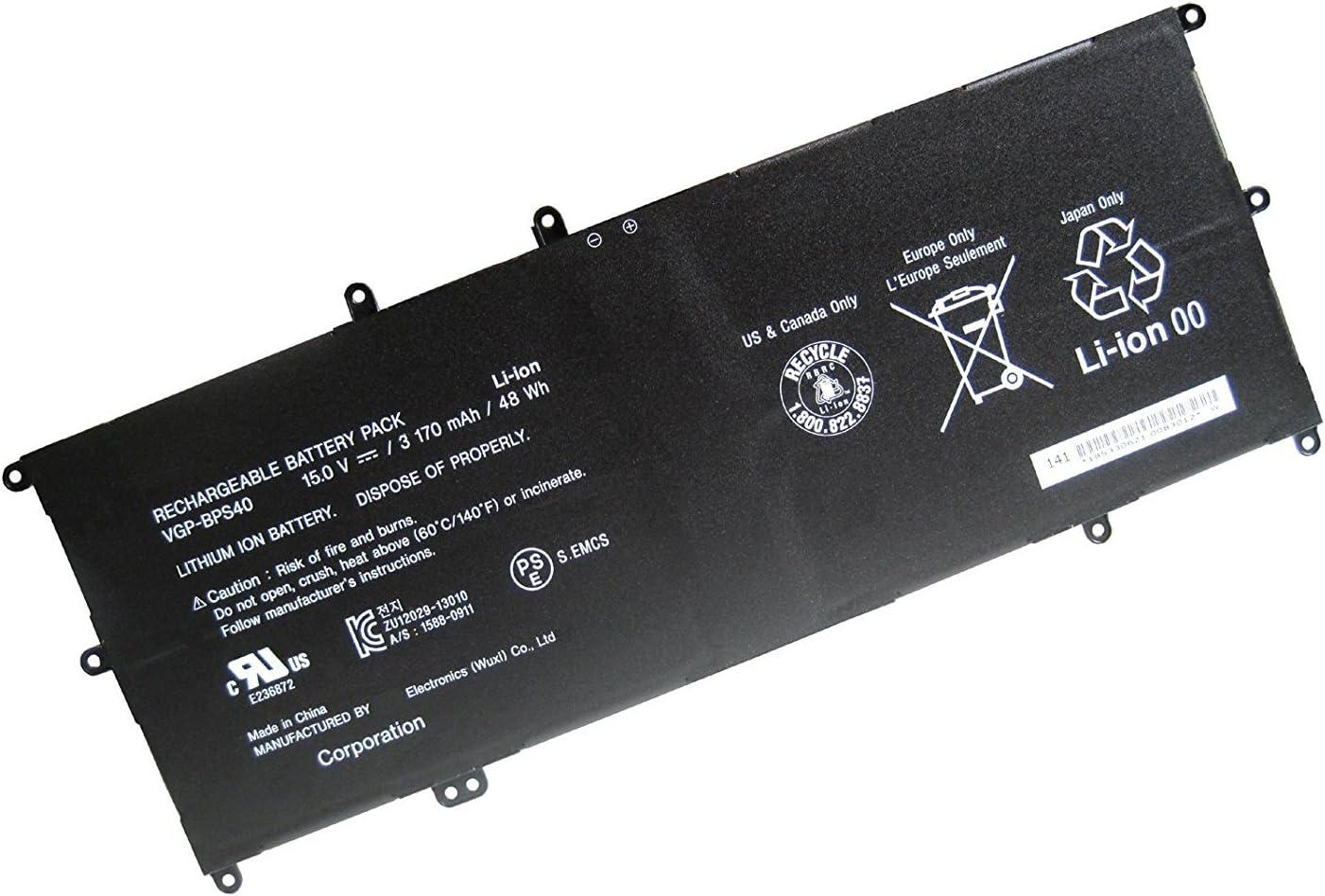 Batterymarket 15.0V 48WH 3170MAH VGP-BPS40 Battery Compatible with Sony Vaio Flip SVF 15A SVF15N17CXB SVF15NB1GL SVF15NB1GU SVF15NA1GL SVF15NA1GU SVF15N18PXB SVF15N26CXB SVF15N28PXB SVF15N23CGS